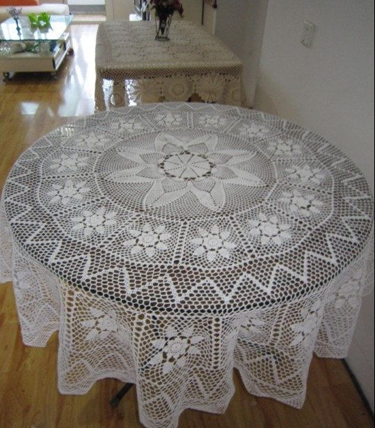 Hand Crochet 63 Round Tablecloth, Round Lace Table Toppers