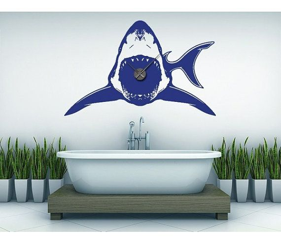 Shark Wall Art shark wall decal clock, sticker, mural, vinyl wall art | wall