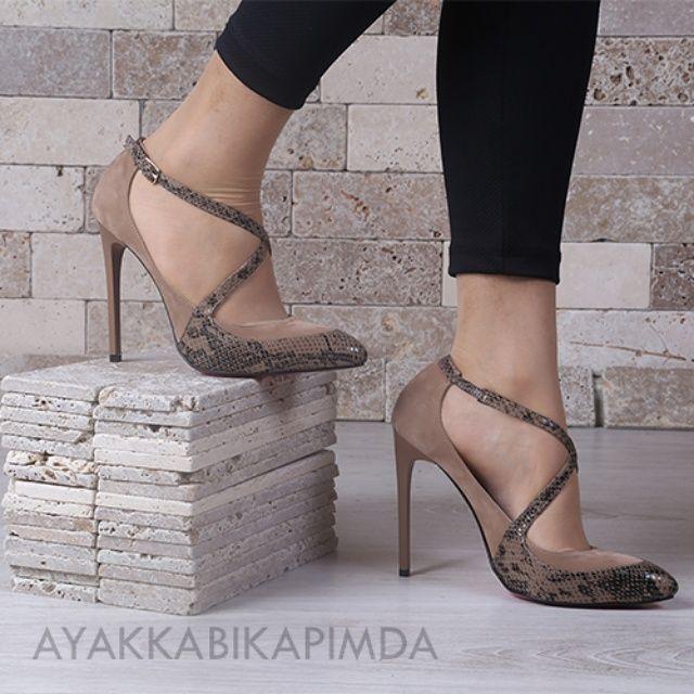 Vizon Süet-yılan bantlı stiletto  69,90 TL ↕ Topuk Boyu 12 cm http://www.ayakkabikapimda.com/yuksek-topuklu-ayakkabi-stiletto 1-3 iş günü teslimat Kargo Bedava