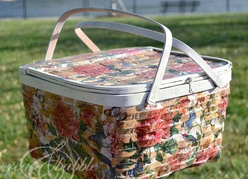 10 Decoupage Ideas with Napkins Basket, Dollar store