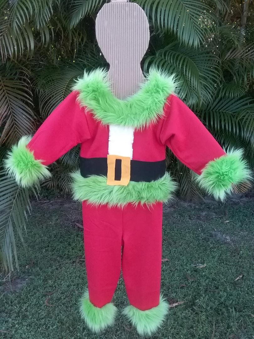 Grinch Halloween Costume Size XS Kids size 4T / 5T Boys or