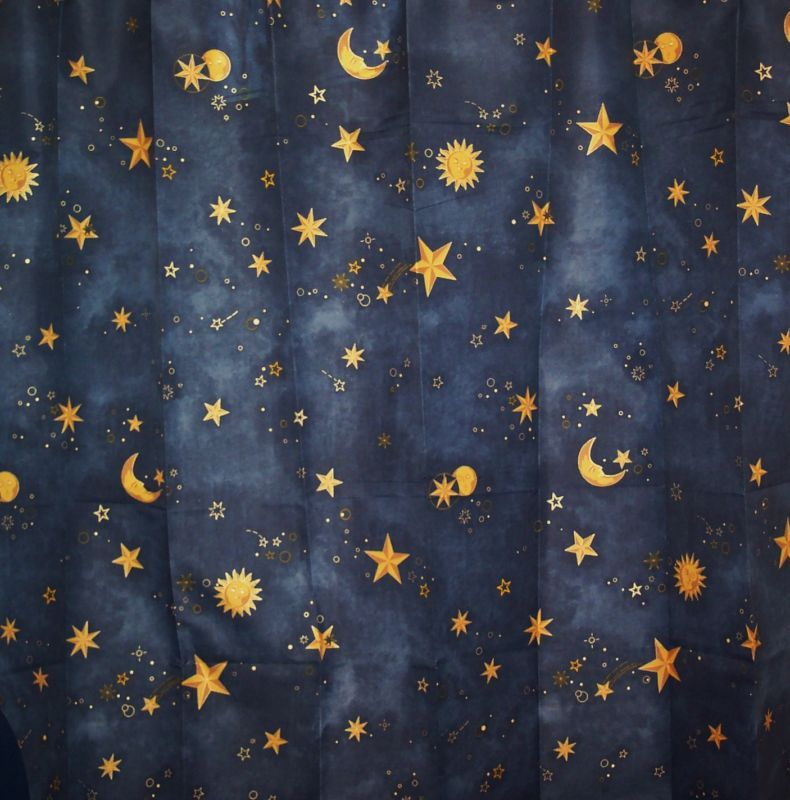 Sun moon stars shower curtain celestial shower curtain for Celestial pattern fabric