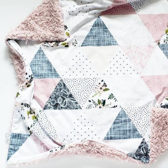Grey Sprigs Wholecloth Baby Blanket, Minky Baby Blanket, Faux Fur Baby Blanket, Floral Baby Blanket, #babyblanket