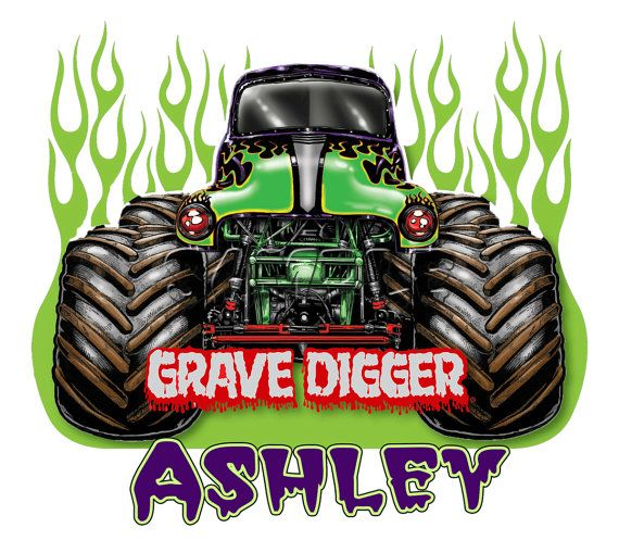 Grave Digger Monster Truck Flames T Shirt By Cutecustomshirts 9 95 Monster Trucks Monster Jam Monster Trucks Birthday Party