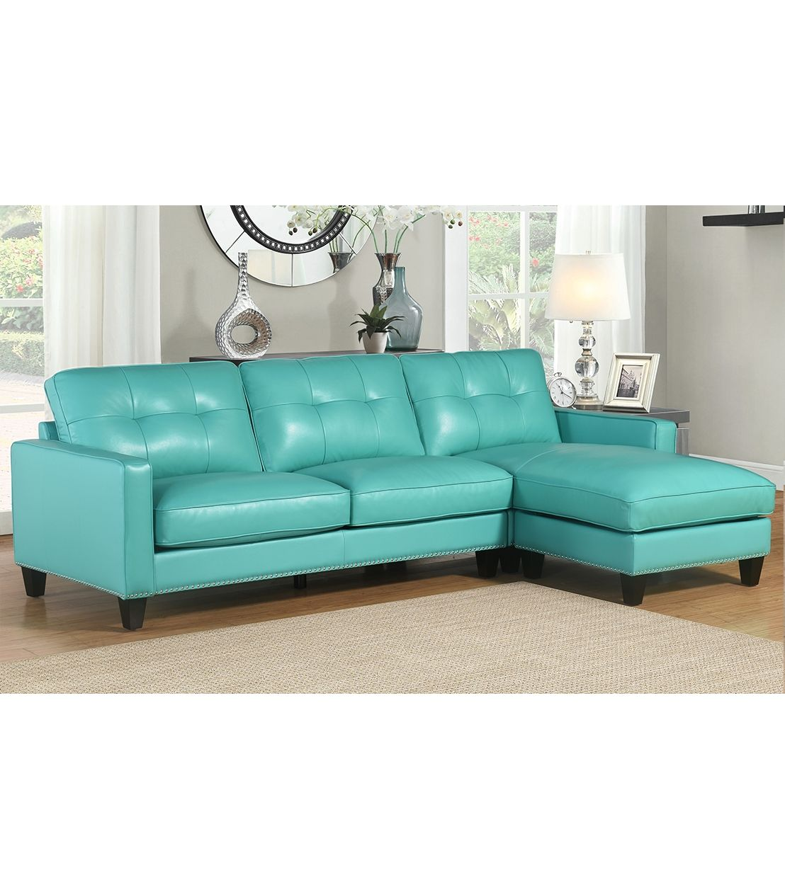 Aqua Leather Sectional Sofa Living