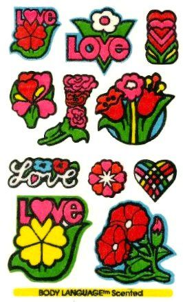 Love Flowers Mello Smello Body Language scratch and sniff sticker tattoos - 1980's