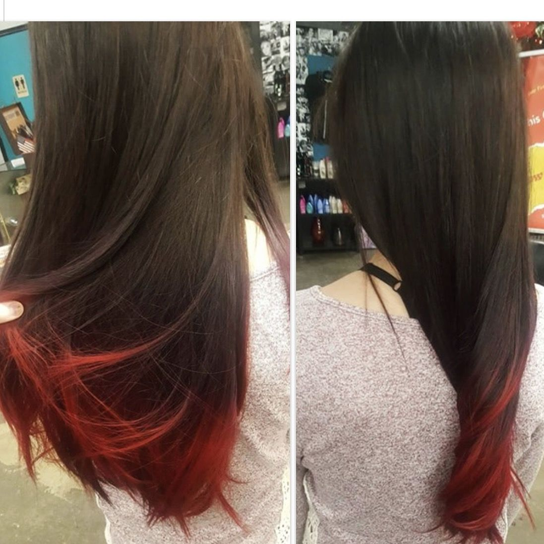 Fire Red Tips On Pretty Brown Hair Red Hair Tips Brown Hair Red Tips Colored Hair Tips