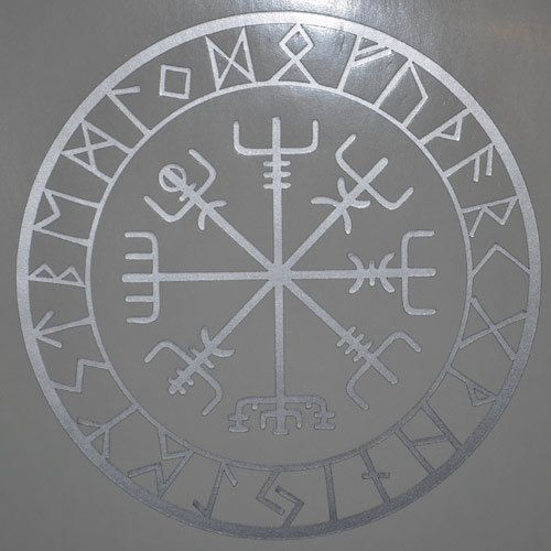 vegvisir viking compass protection runes talisman silver vinyl decal histoire pinterest. Black Bedroom Furniture Sets. Home Design Ideas