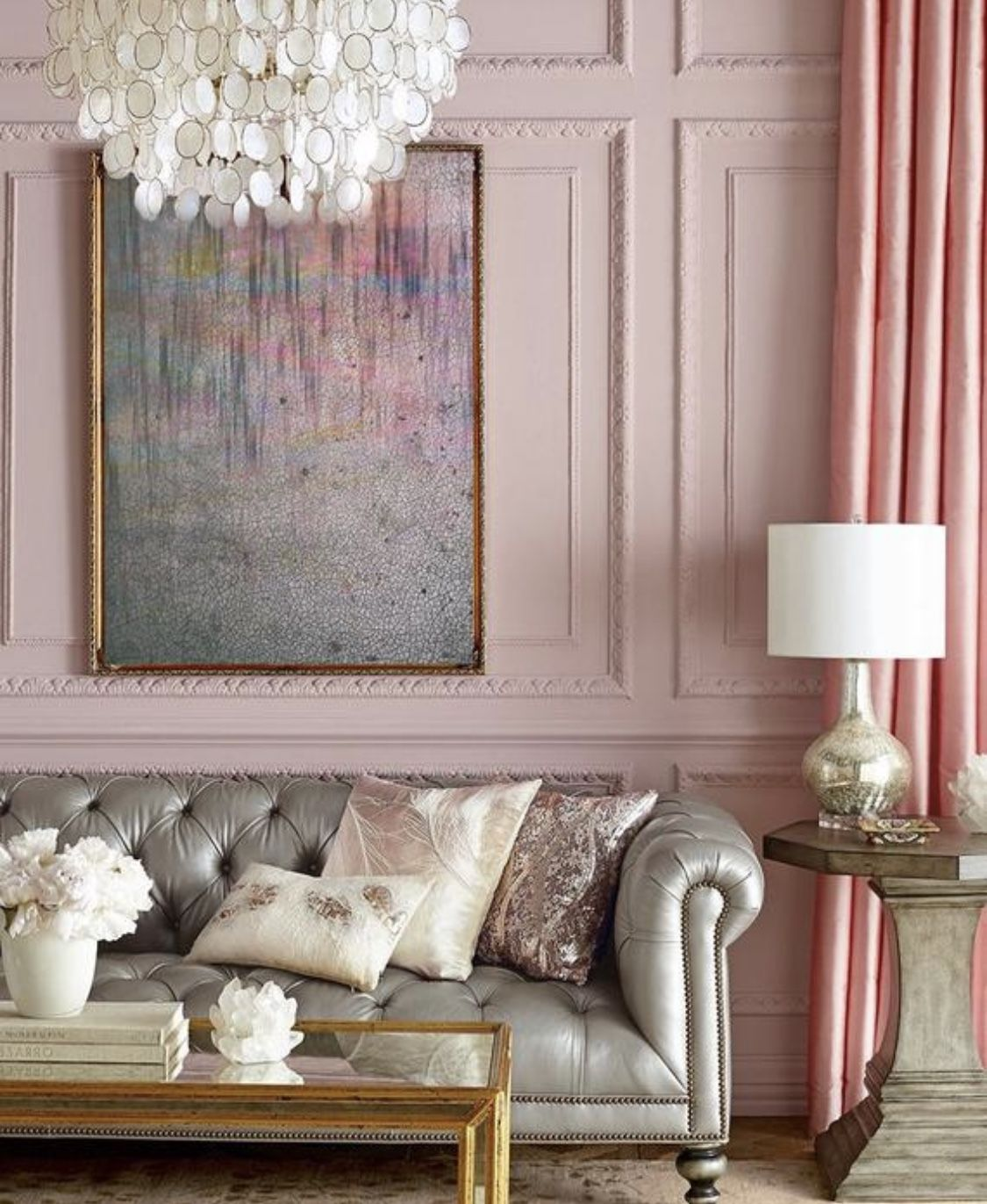Glamour Grey And Rose Gold Living Room Decor Silver Wall D