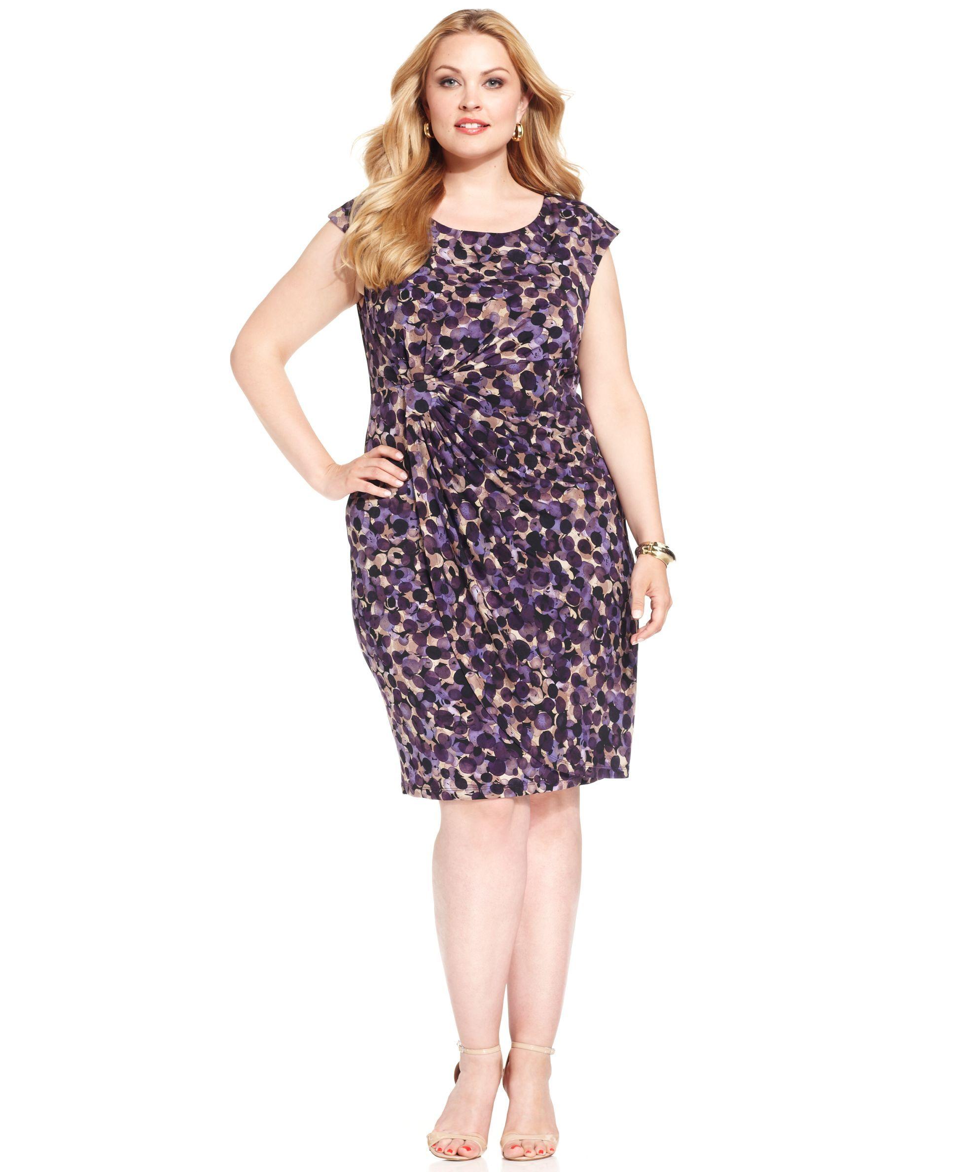 915df0dd932 Connected Plus Size Dot-Print Faux-Wrap Dress