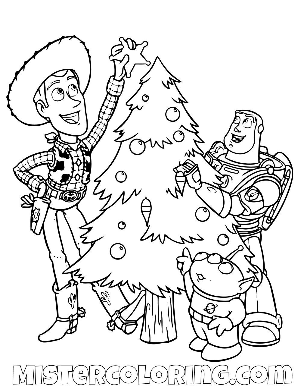 Sheriff Woody Alien And Buzz Lightyear With Christmas Tree Toy Story Coloring Page Toy Story Coloring Pages Christmas Coloring Pages Christmas Toy Story