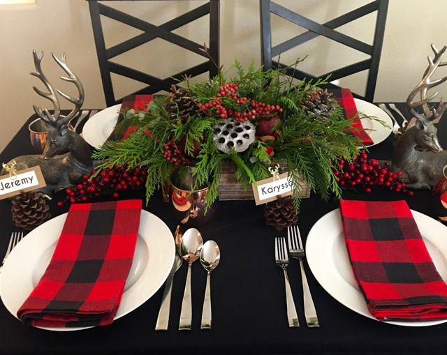 Red Black Buffalo Plaid Table Setting For A Baby Shower Christmas Table Decorations Plaid Christmas Decor Xmas Table Decorations