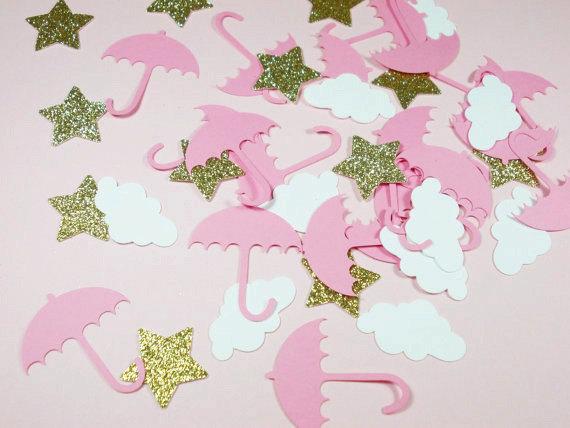 Glitter Gold Stars Pink Umbrella  Cloud Confetti, Girl Baby Shower - confeti