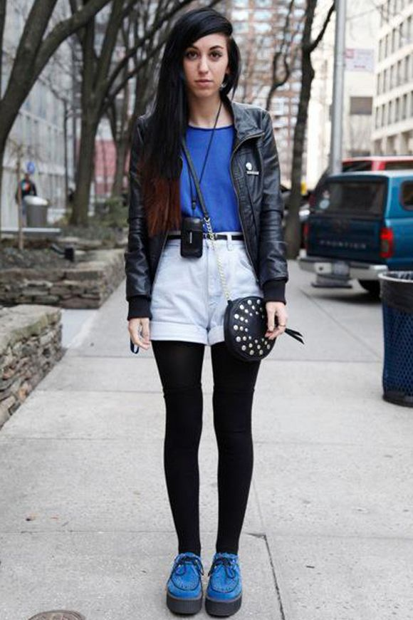leather jacket with high waisted shorts and colour tee | FASHION ...