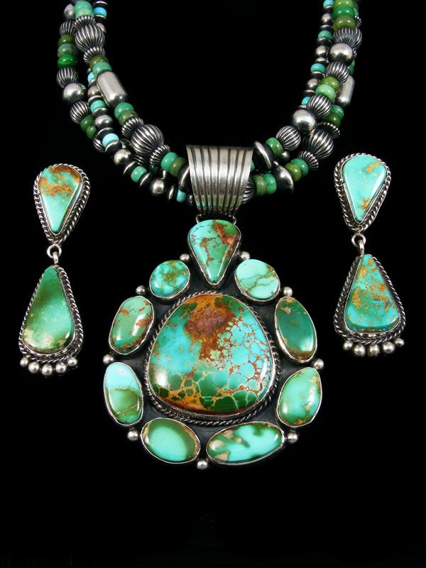 Native American Indian Royston Turquoise Sterling Silver Necklace and Earrings Set by La Rose Ganadonegro