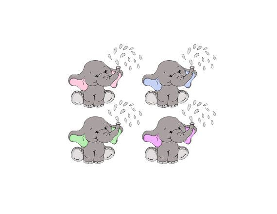 Baby Elephant Clip Art Nursery Baby Shower Art Pink Or Blue Ears