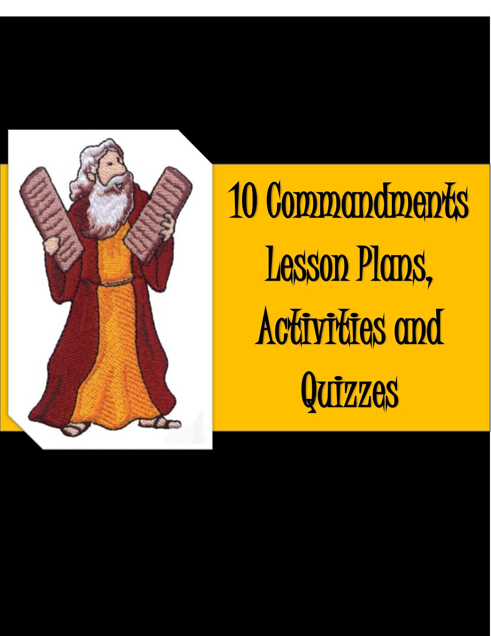 10 Commandments Lesson Activities And Quizzes