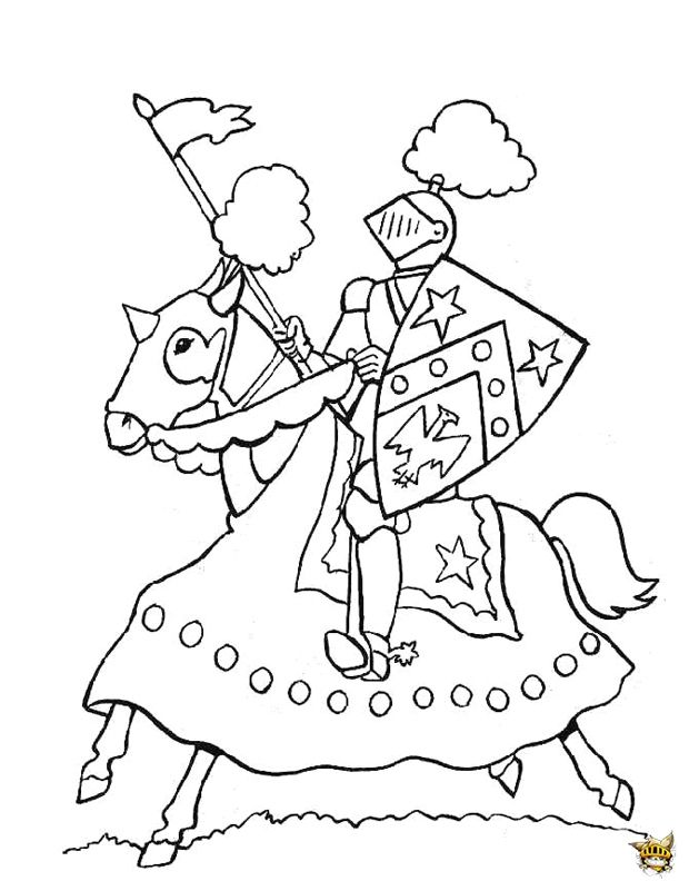 Coloriage Chateau Cheval.Chevalier A Cheval Roi Arthur Coloriage Chevalier Coloriage