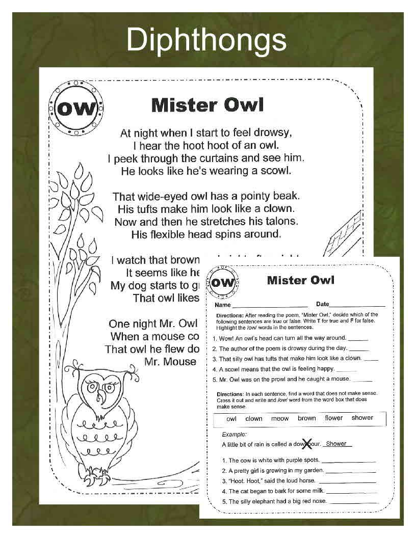 Vowel Diphthongs Original Poems Worksheets And Game Boards Vowel Diphthongs Diphthongs Diphthong Words