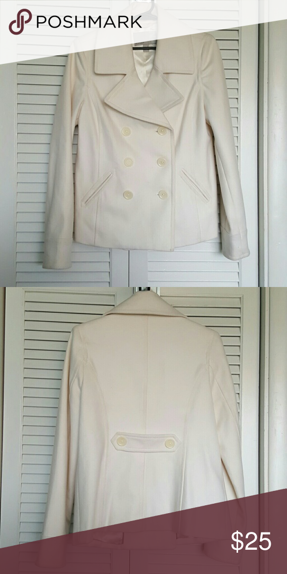 Double-breasted Pea Coat Cream colored,  double-breasted will blend coat.  Fully lined and scotch guarded to keep it clean and rain just beads off. Old Navy Jackets & Coats Pea Coats