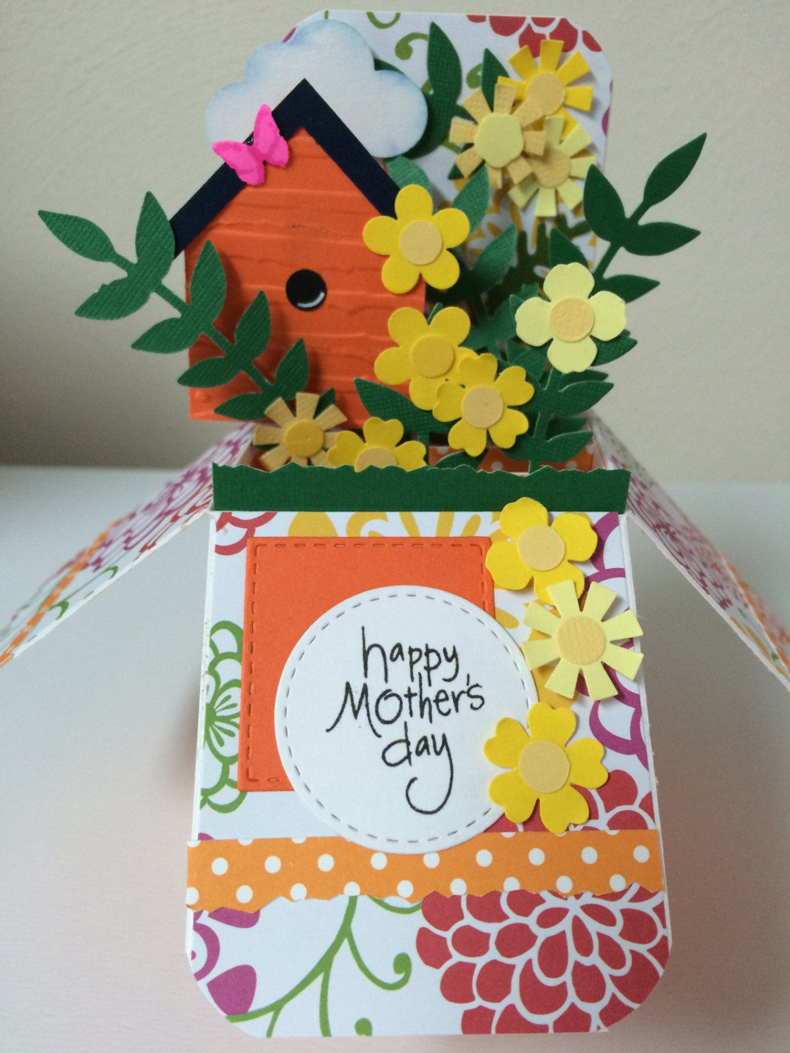 mother's day flowers  birdhouse popup box card  etsy