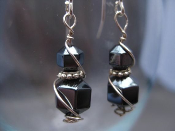 Wire Wrapped Sterling Silver Hematite Earring With Pewter by Banba, $15.00