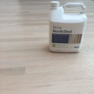 First Coat Of Sealer Down Bona S New Nordic Seal Gives A Nice Touch Of Warm White Excited To Apply B Red Oak Hardwood Floors Red Oak Floors Red Oak Hardwood