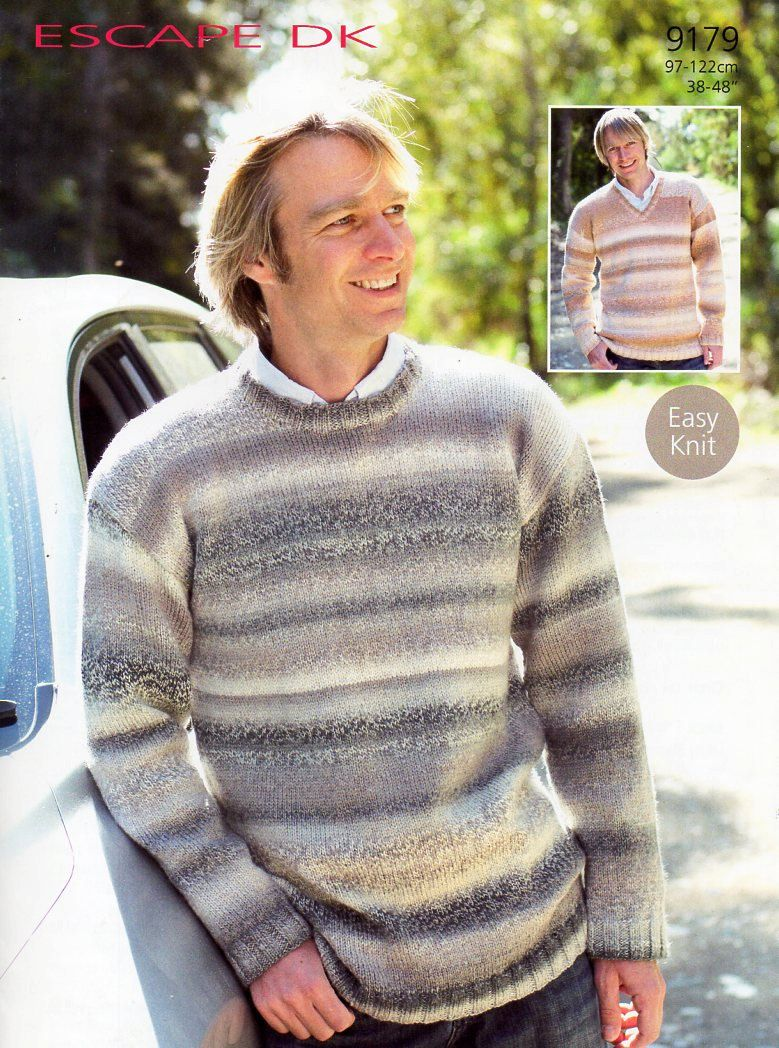 mens sweater knitting pattern PDF mens v neck sweater round neck ...