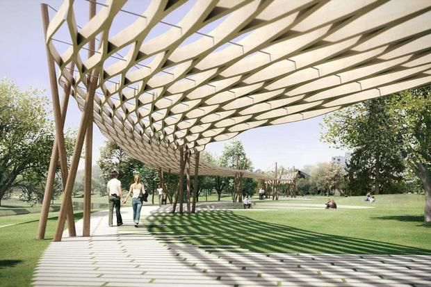 Mill River Park canopy by Gray Organschi Architecture. & Mill River Park canopy by Gray Organschi Architecture. | CUBIERTAS ...