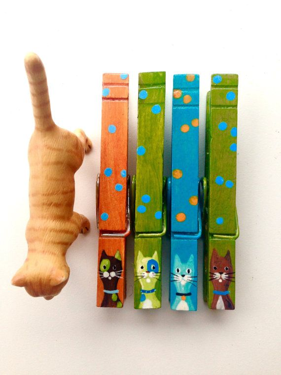 CAT CLOTHESPINS green orange teal hand painted by SugarAndPaint