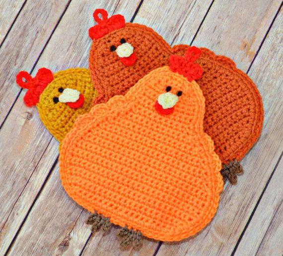 Pot Pot Crochet Chickens, Kitchen, Housewares, Handmade, Crochet Pot Holders, Fall, Autumn, Halloween, Gift Ideas, Christmas