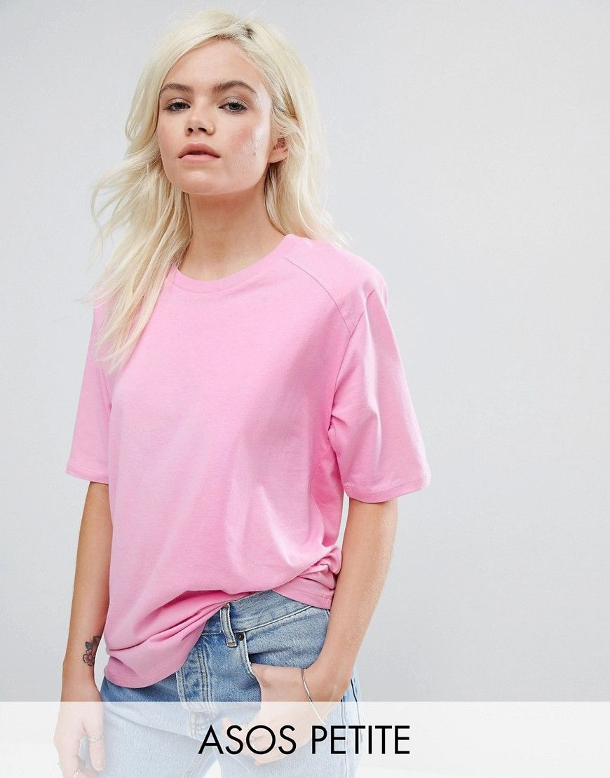 ASOS PETITE T-Shirt in Boxy Fit with Shoulder Pad - Pink | Products ...