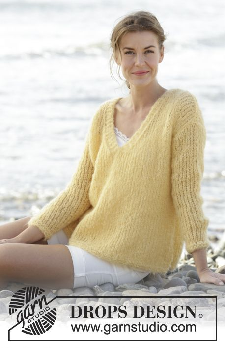 Knitted DROPS jumper in stockinette st with V-neck and vents in Mel ...