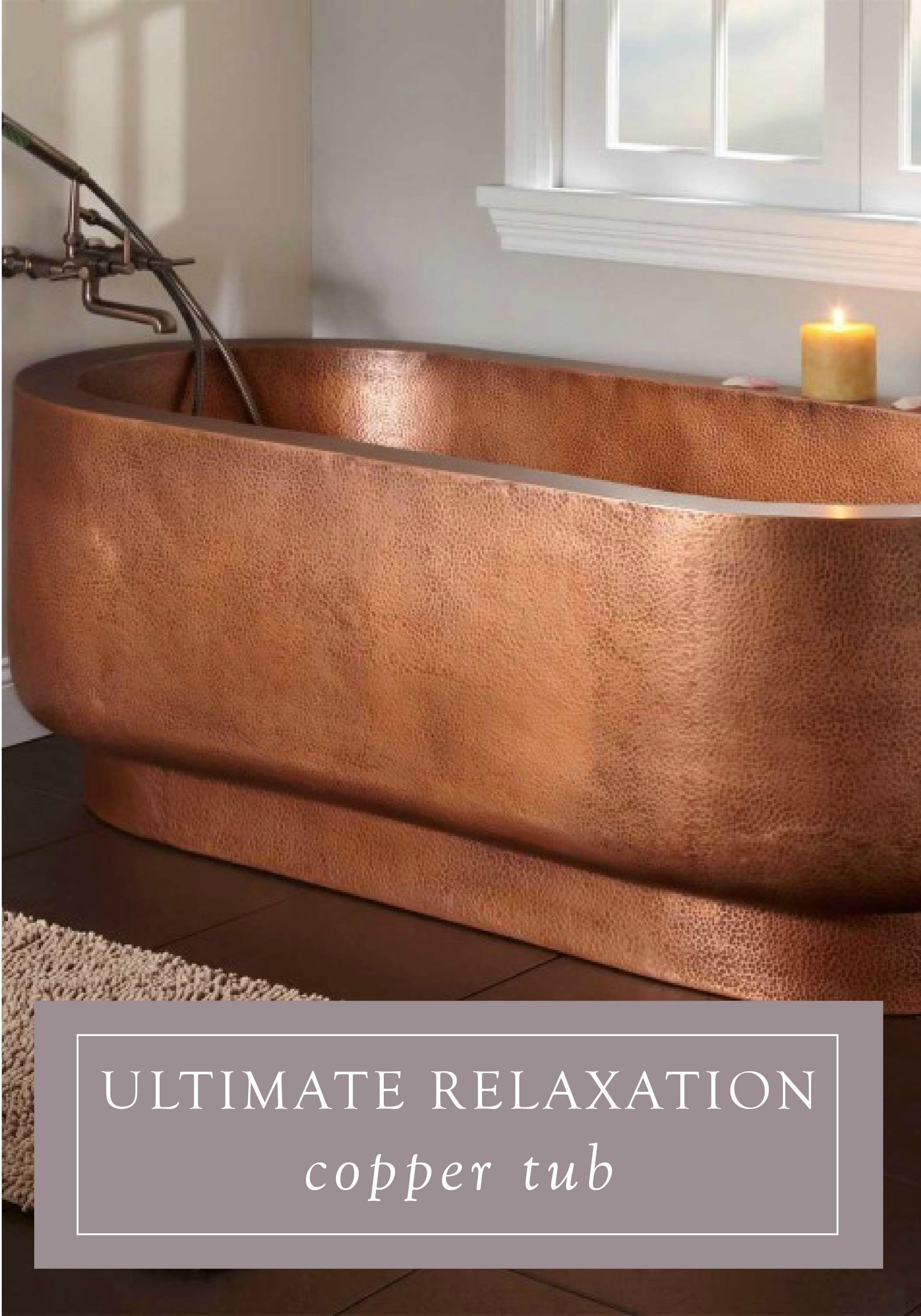 Add elegance to your space with this roomy copper hammered bathtub ...