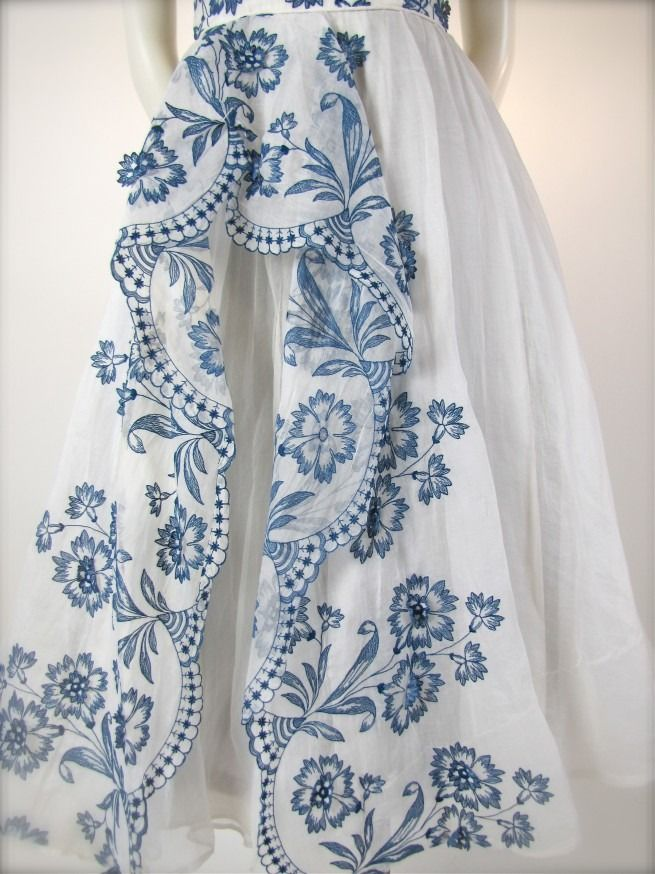 blue and white gown