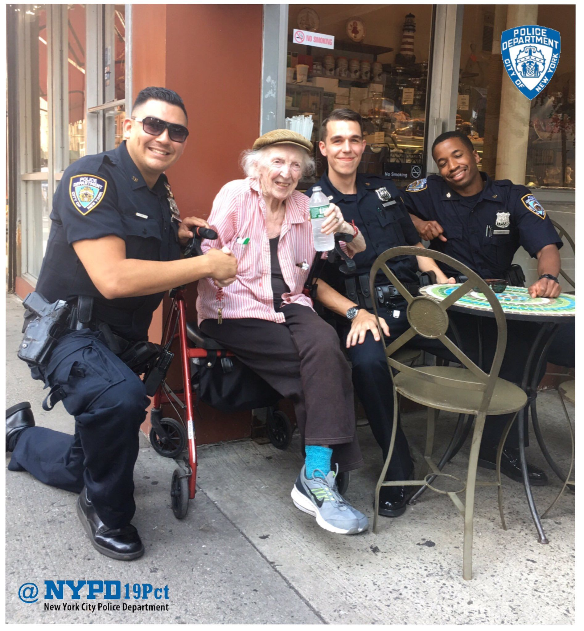"NYPD 19th Precinct on Twitter: ""Our Officers met 94y/o #UES local @LilGafer during today's heat wave &brought some H2o to keep her cool #BeatTheHeat https://t.co/XNqYGSYrPB"""