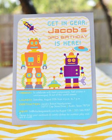 "cute invitation wording ""get in gear, jacob's 3rd birthday is here"" (mission, destination, launch)"
