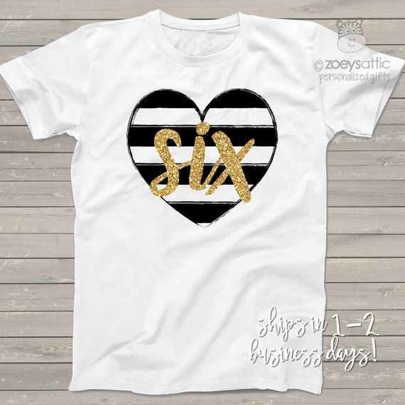 Sixth birthday gold glitter six black white striped heart ...