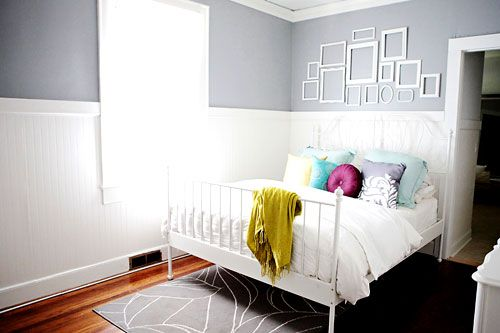 I can't commit to painting a full bedroom.. gray on top white on bottom looks so crisp! : )
