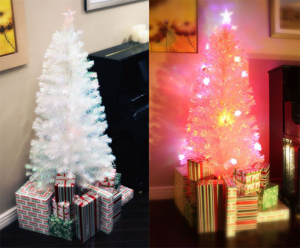 6 FT WHITE PRE-LIT MULTI COLOR LED FIBER OPTIC CHRISTMAS