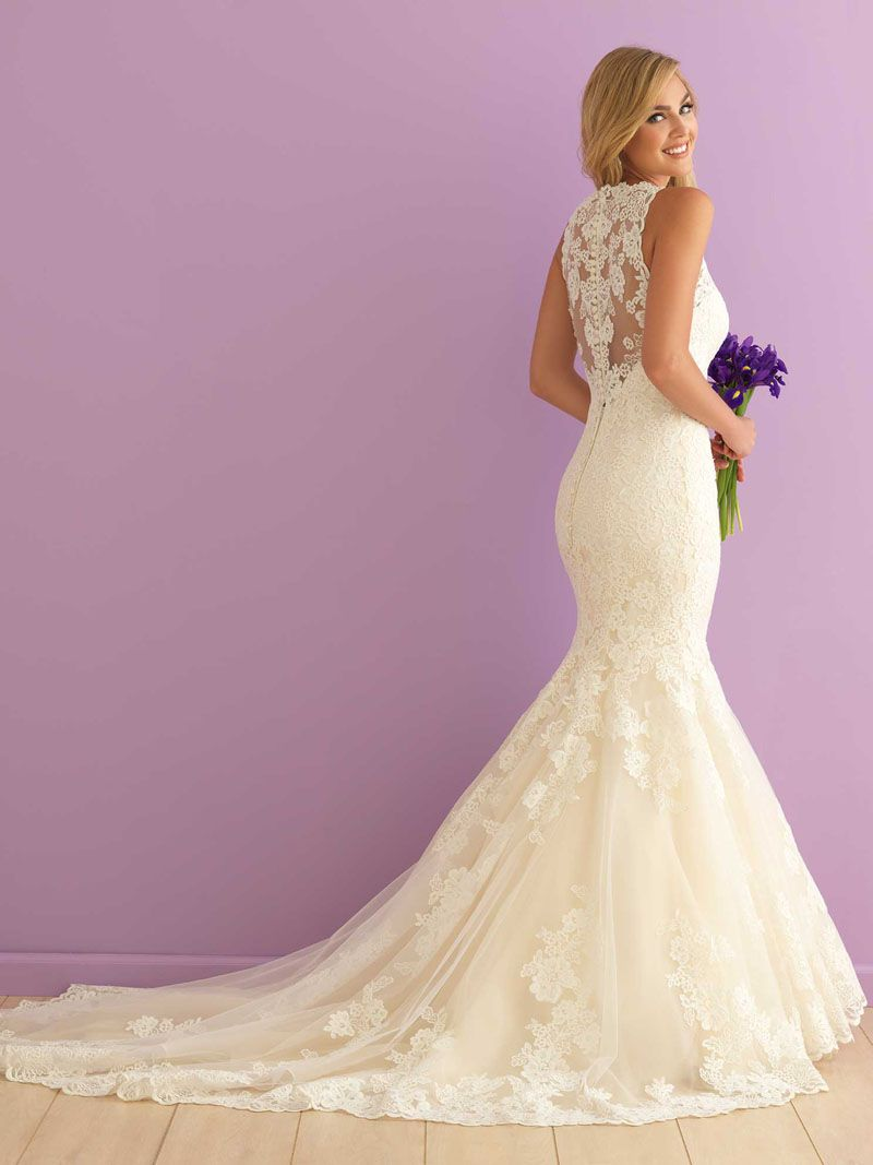 Ivory Lace Illusion Back Mermaid High Neck Wedding Dress