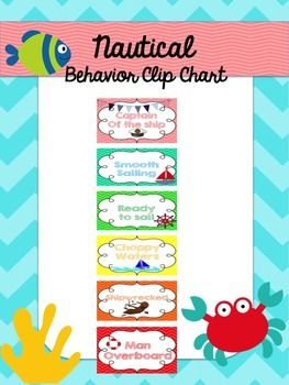 "Use this fun ""under the sea"" behavior clip chart in your class! Enjoy! YOU MAY ALSO ENJOY: Nautical Classroom Kit Nautical Classroom Kit Nautical Word Wall Student of the Week Nautical Welcome Banner Under the Sea Behavior Clip Chart"