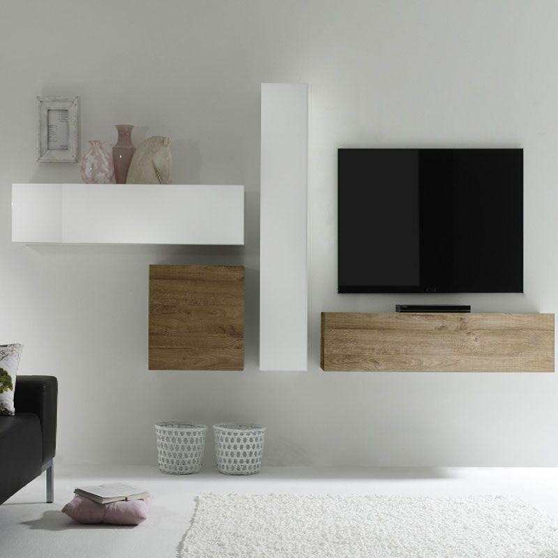 Ensemble meuble TV blanc laqué et bois MANOA | Ensemble de meubles ...