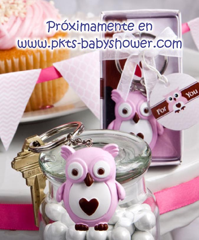 Recuerdos para Baby Shower - Llavero Buho Rosa - Disponible en www.pkts-babyshower.com