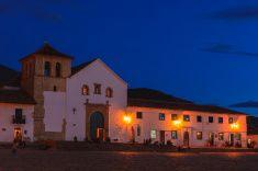 Villa de Leyva, Colombia: 16th Century church during Blue Hour stock photo