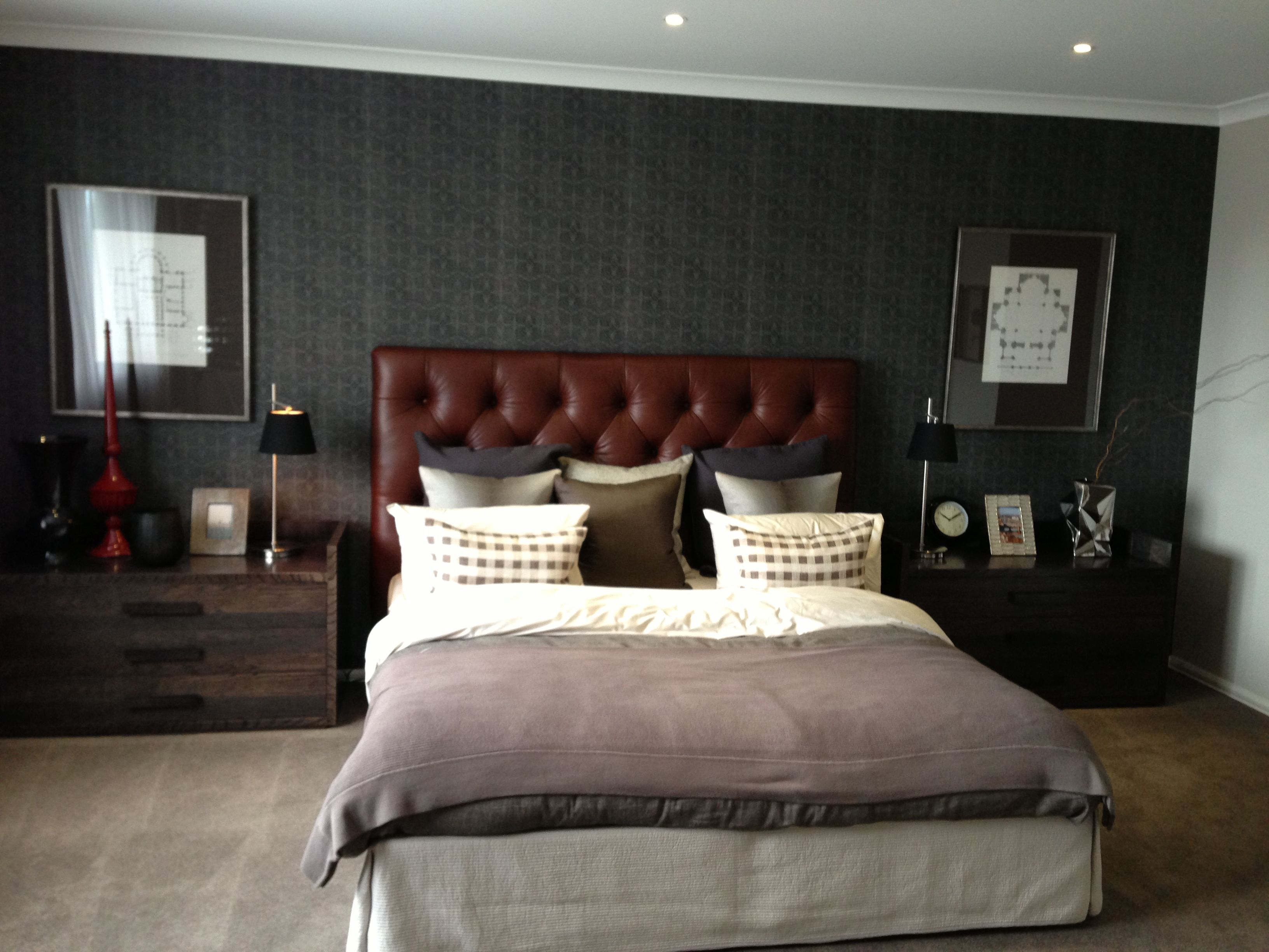 Masculine Bedrooms Interior Decoration With Brown Leather Tufted Headboard Idea
