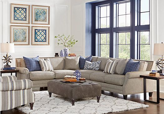 Piedmont Gray 3 Pc Sectional Living Room 1 Find Affordable Living