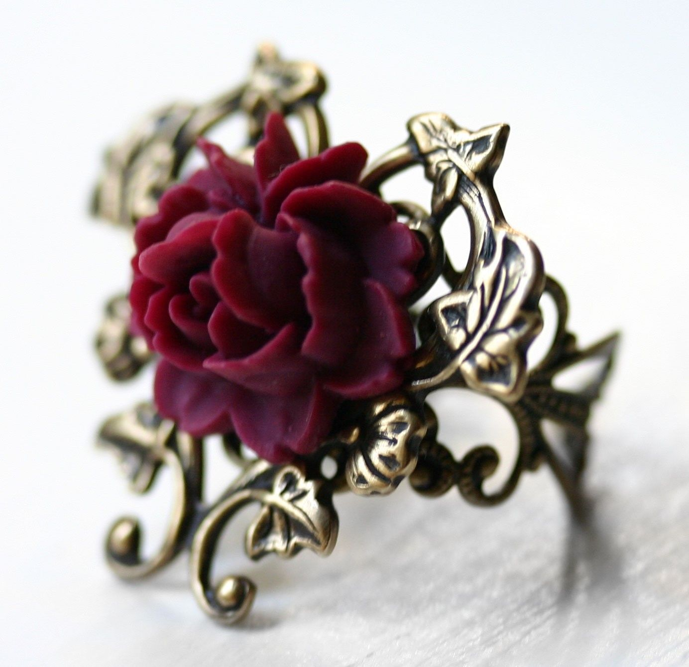 Victorian Blooming Red Rose Ring in Antique Gold LOVE the ring too