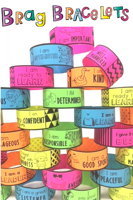 Brag Bracelets with positive affirmations and character traits perfect for positive reinforcement a