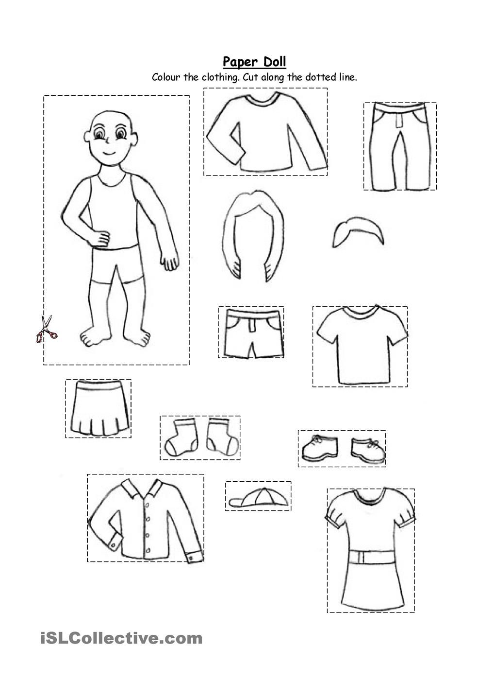 Paper doll clothing (for kindergarten and 1st graders